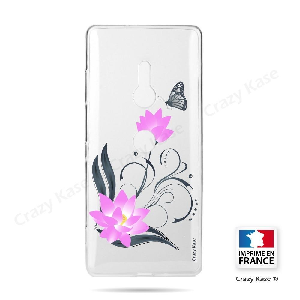 Coque Sony Xperia XZ3 souple motif Fleur de lotus et papillon- Crazy Kase