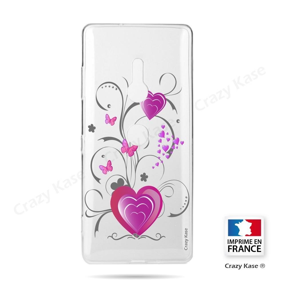 Coque Sony Xperia XZ3 souple motif Cœur et papillon - Crazy Kase