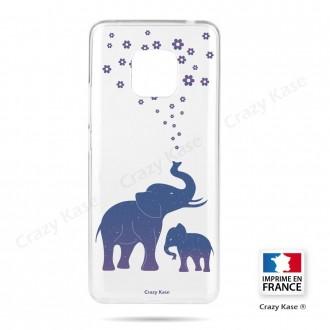 Coque Huawei Mate 20 Pro souple motif Eléphant Bleu - Crazy Kase