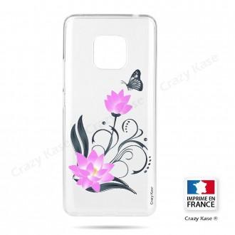 Coque Huawei Mate 20 Pro souple motif Fleur de lotus et papillon- Crazy Kase