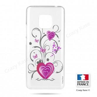 Coque Huawei Mate 20 Pro souple motif Cœur et papillon - Crazy Kase