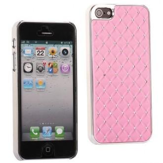 Coque plastique avec strass sur fond rose clair pour iPhone 5