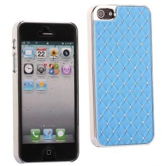 Coque plastique avec strass sur fond bleu ciel pour iPhone 5