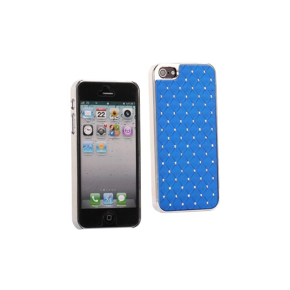 Coque plastique avec strass sur fond bleu pour iPhone 5