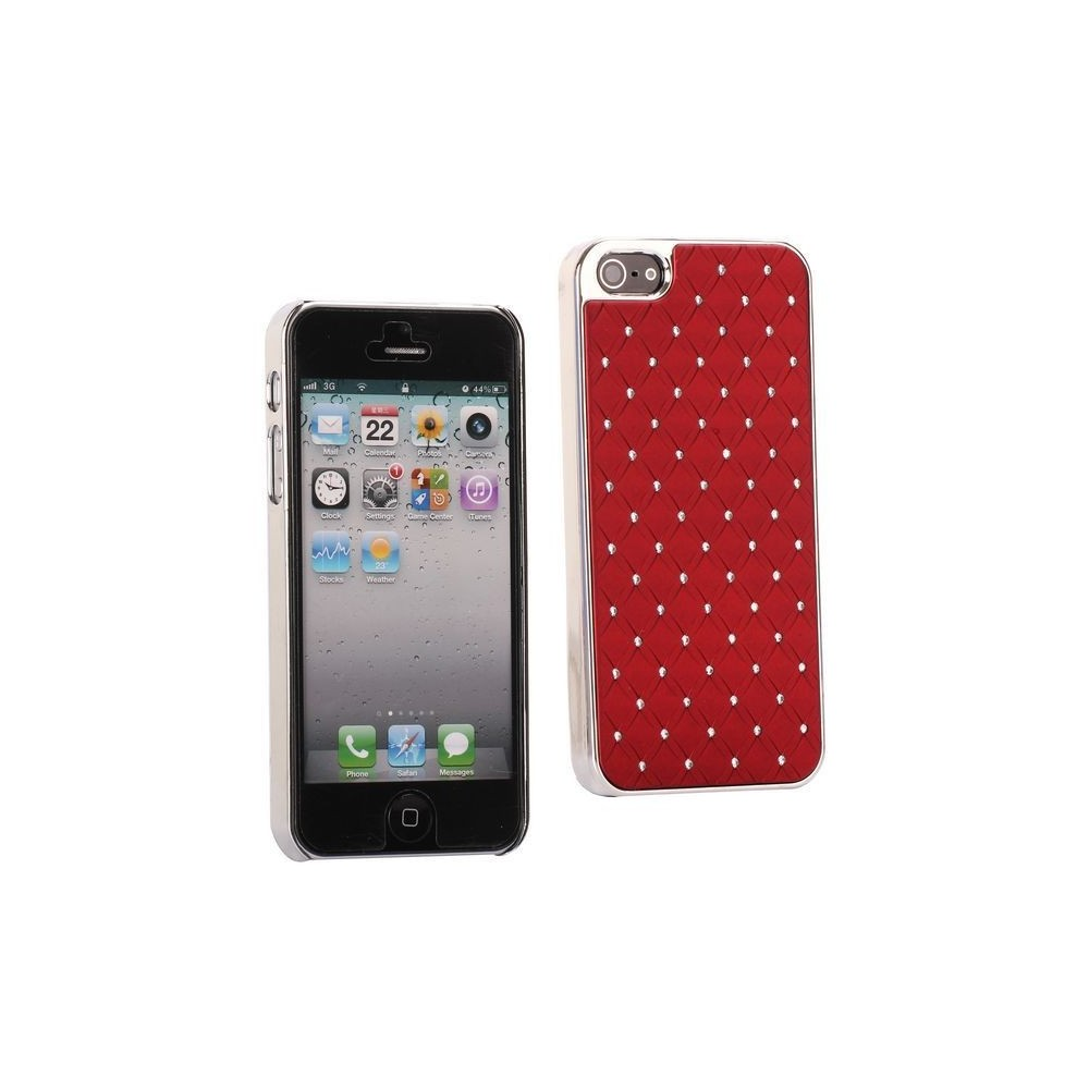 Coque plastique avec strass sur fond rouge pour iPhone 5