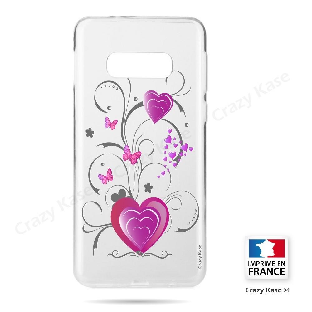 Coque Galaxy S10e souple motif Cœur et papillon - Crazy Kase