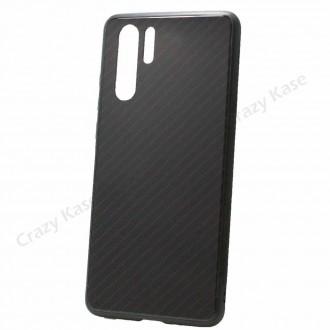 Coque Huawei P30 Pro noir rigide effet carbone - Crazy Kase