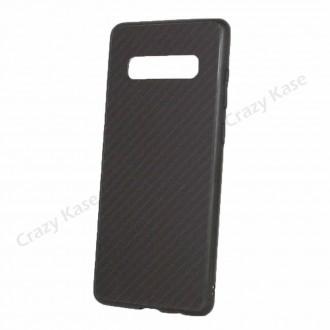 Coque Galaxy S10 Plus noir rigide effet carbone - Crazy Kase