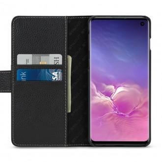 Etui Galaxy S10 porte-cartes grainé noir en cuir véritable - Stilgut