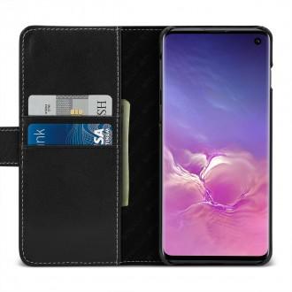 Etui Galaxy S10 porte-cartes Talis Noir nappa en cuir véritable - Stilgut