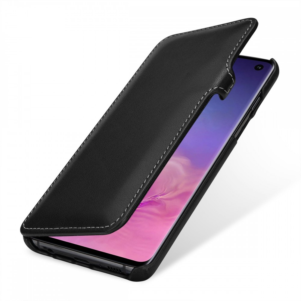 Etui Galaxy S10 book type noir nappa en cuir véritable - Stilgut