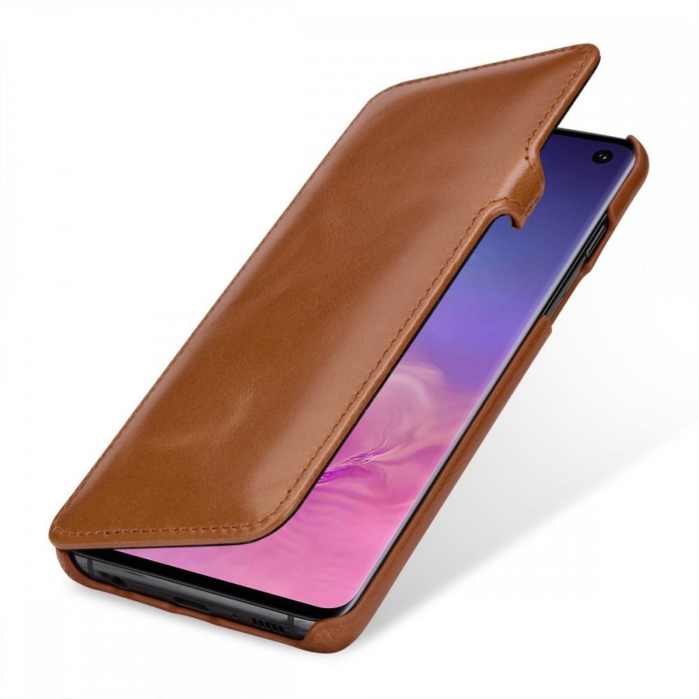 Etui iPhone X book type cognac en cuir véritable - Stilgut