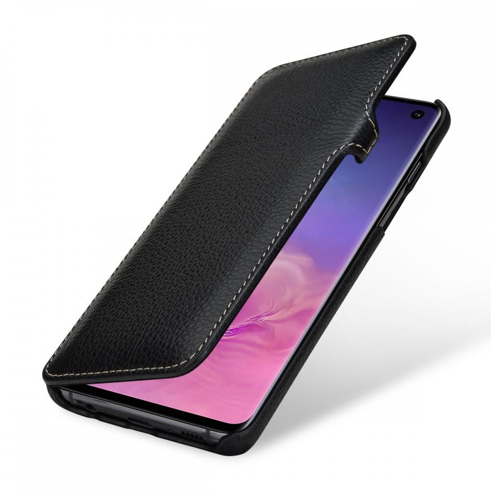 Etui Galaxy S10 book type grainé noir en cuir véritable - Stilgut