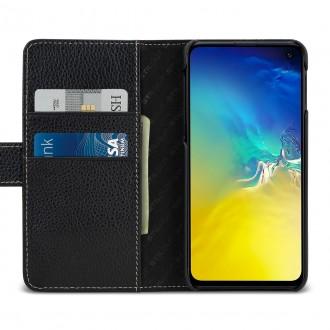 Etui Galaxy S10e porte-cartes grainé noir en cuir véritable - Stilgut