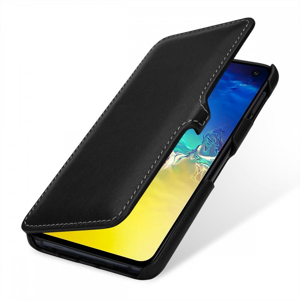 Etui Galaxy S10e book type noir nappa en cuir véritable - Stilgut