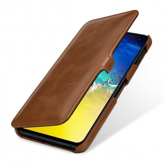 Etui Galaxy S10e book type cognac en cuir véritable - Stilgut