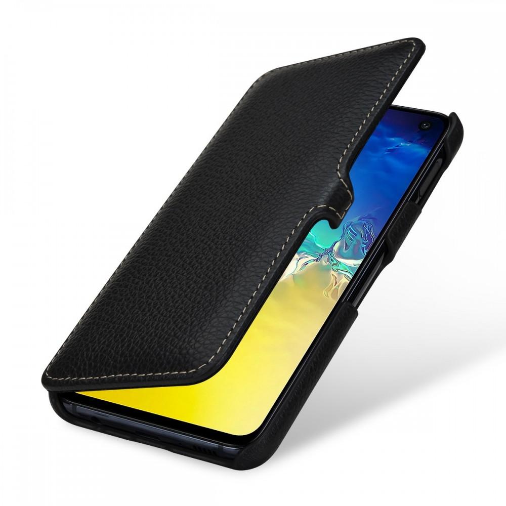 Etui Galaxy S10e book type grainé noir en cuir véritable - Stilgut
