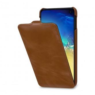 Etui Galaxy S10e UltraSlim en cuir véritable cognac - StilGut