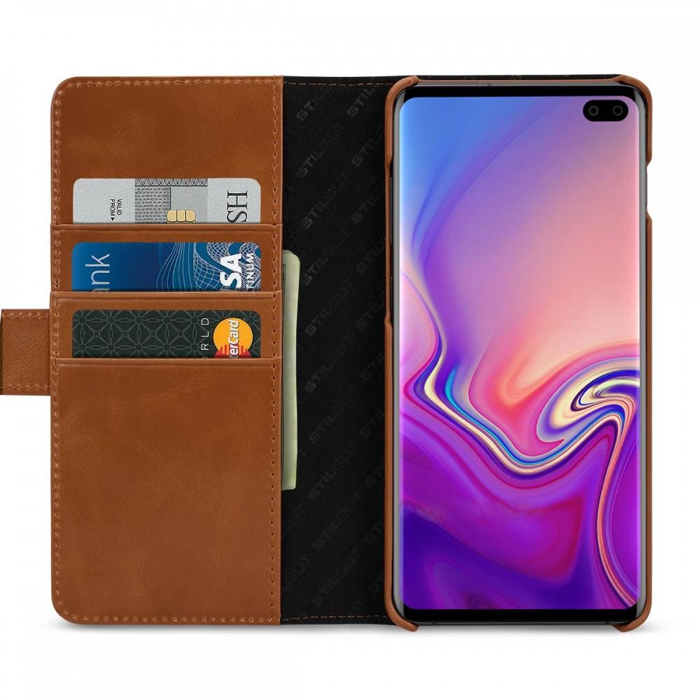Etui Galaxy S10 Plus porte-cartes cognac en cuir véritable - Stilgut