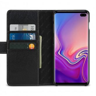 Etui Galaxy S10 Plus porte-cartes grainé noir en cuir véritable - Stilgut