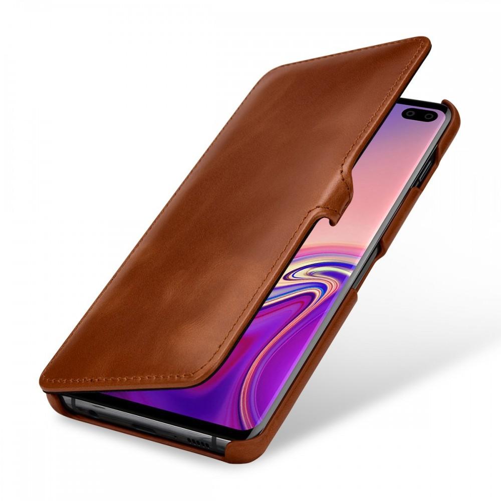 Etui Galaxy S10 Plus book type cognac en cuir véritable - Stilgut