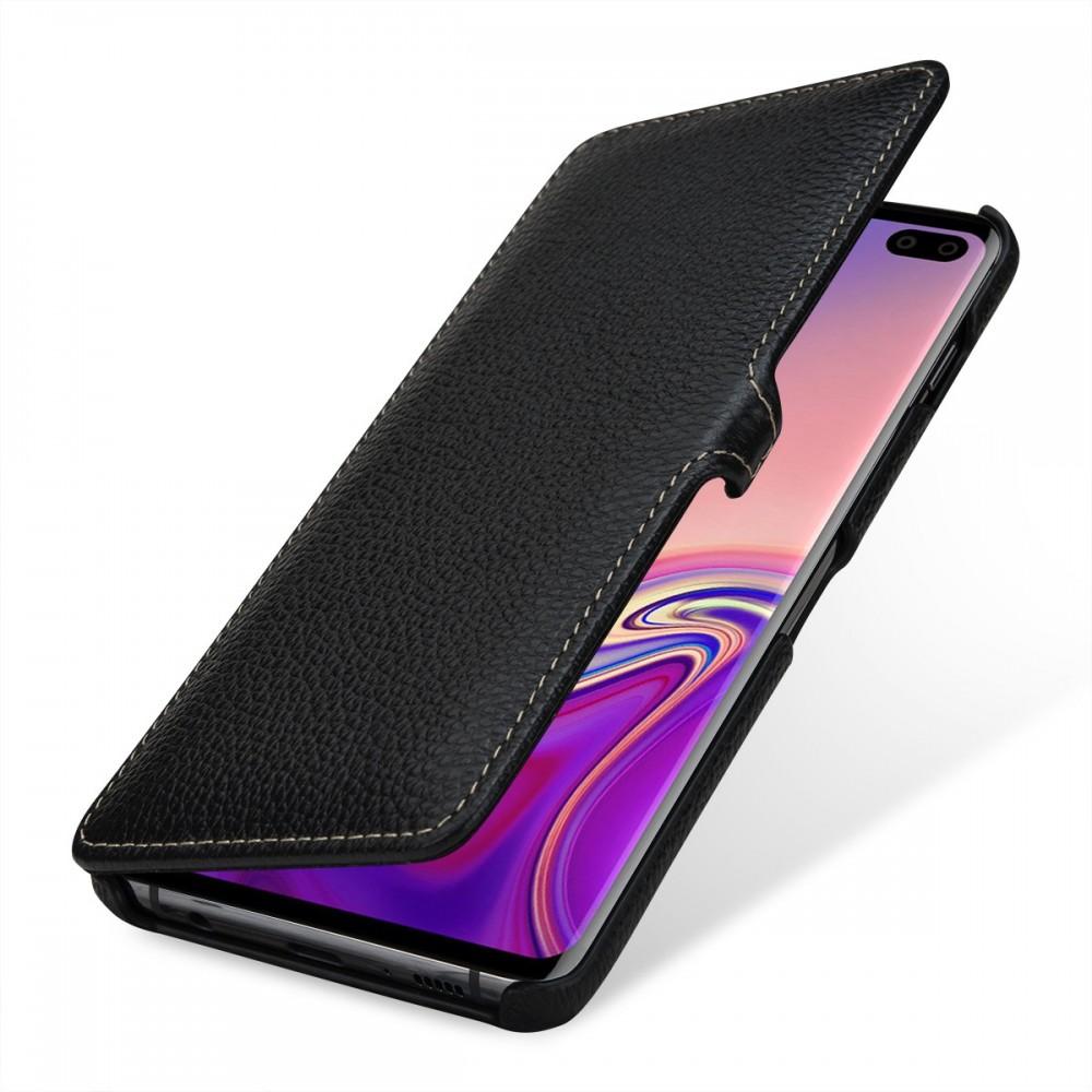 Etui Galaxy S10 Plus book type grainé noir en cuir véritable - Stilgut
