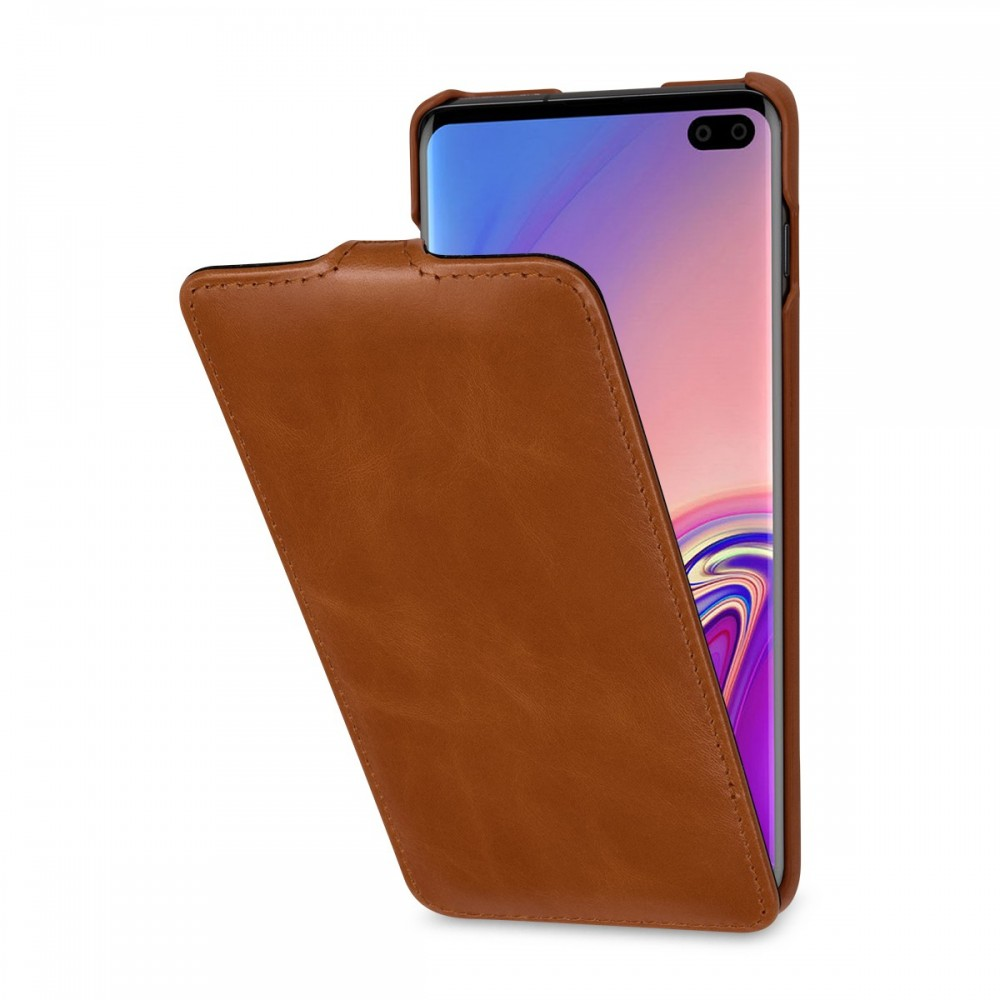 Etui Galaxy S10 Plus UltraSlim en cuir véritable cognac - StilGut