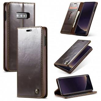 Etui Galaxy S10e porte-cartes marron - CaseMe