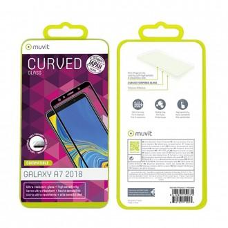 Film Galaxy A7 (2018) protection écran verre trempé incurvé contour Noir - Muvit