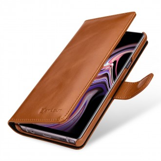 Etui Galaxy Note 9 porte-cartes cognac en cuir véritable - Stilgut