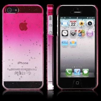 Coque plastique motif goutte d'eau dégradé rose pour iPhone 5