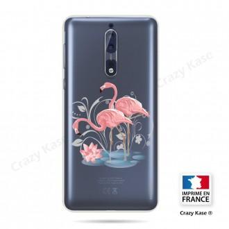 Coque compatible Nokia 8 souple Flamant rose - Crazy Kase