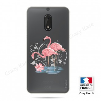Coque compatible Nokia 6 souple Flamant rose - Crazy Kase