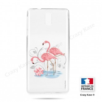 Coque compatible Nokia 3.1 souple Flamant rose - Crazy Kase