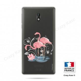 Coque compatible Nokia 3 souple Flamant rose - Crazy Kase