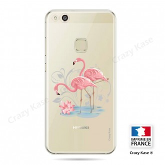 Coque compatible Huawei P10 Lite souple Flamant rose - Crazy Kase