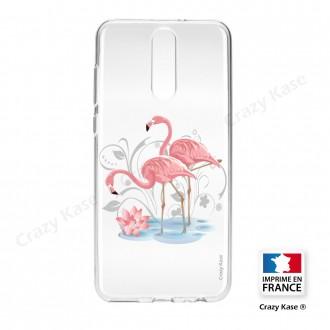 Coque compatible Huawei Mate 10 Lite souple Flamant rose -  Crazy Kase