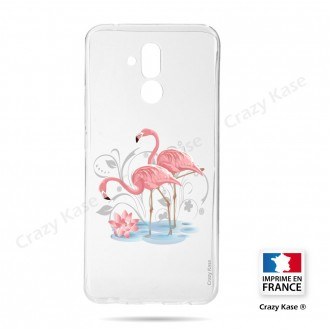 Coque compatible Huawei Mate 20 Lite souple Flamant rose -  Crazy Kase