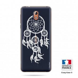 Coque compatible Nokia 3.1 souple motif Attrape Rêves Blanc - Crazy Kase