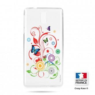 Coque compatible Nokia 3.1 souple motif Papillons et Cercles - Crazy Kase