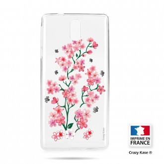 Coque compatible Nokia 3.1 souple motif Fleurs de Sakura - Crazy Kase