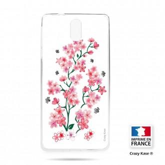 Coque compatible Nokia 3.1 souple motif Fleurs de Sakura sur fond blanc- Crazy Kase