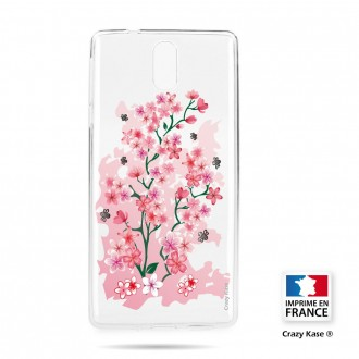 Coque compatible Nokia 3.1 souple motif Fleurs de Cerisier - Crazy Kase
