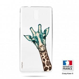 Coque compatible Nokia 3.1 souple motif Tête de Girafe - Crazy Kase