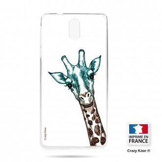 Coque compatible Nokia 3.1 souple motif Tête de Girafe sur fond blanc- Crazy Kase