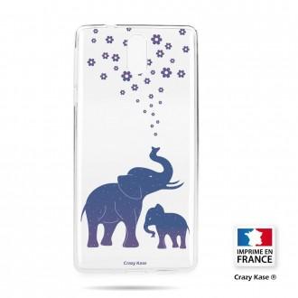 Coque compatible Nokia 3.1 souple motif Eléphant Bleu - Crazy Kase