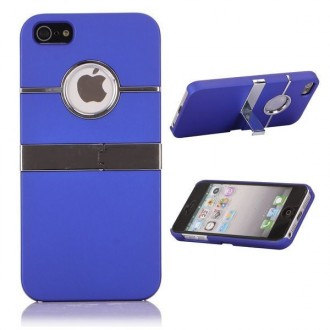 Coque plastique logo apparent support TV bleu pour iPhone 5