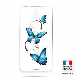 Coque compatible Nokia 3.1 souple motif Papillon sur Arabesque sur fond blanc- Crazy Kase