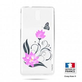Coque compatible Nokia 3.1 souple motif Fleur de lotus et papillon- Crazy Kase