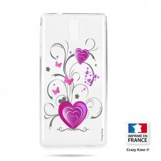 Coque compatible Nokia 3.1 souple motif Cœur et papillon - Crazy Kase